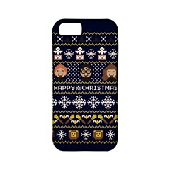 Merry Nerdmas! Ugly Christmas Blue Background Apple Iphone 5 Classic Hardshell Case (pc+silicone) by Onesevenart