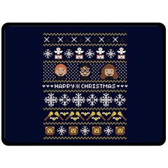 Merry Nerdmas! Ugly Christmas Blue Background Double Sided Fleece Blanket (large)  by Onesevenart