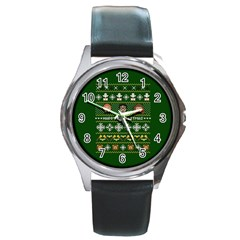 Merry Nerdmas! Ugly Christma Green Background Round Metal Watch by Onesevenart