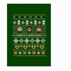 Merry Nerdmas! Ugly Christma Green Background Large Garden Flag (two Sides) by Onesevenart