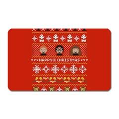 Merry Nerdmas! Ugly Christma Red Background Magnet (rectangular) by Onesevenart