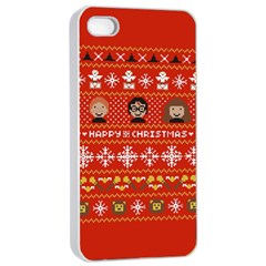 Merry Nerdmas! Ugly Christma Red Background Apple Iphone 4/4s Seamless Case (white) by Onesevenart