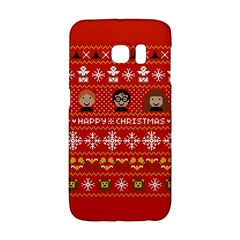 Merry Nerdmas! Ugly Christma Red Background Galaxy S6 Edge by Onesevenart