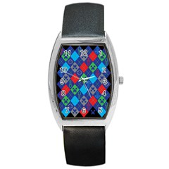 Minecraft Ugly Holiday Christmas Black Background Barrel Style Metal Watch by Onesevenart