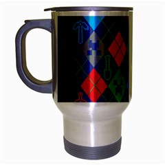 Minecraft Ugly Holiday Christmas Blue Background Travel Mug (silver Gray) by Onesevenart