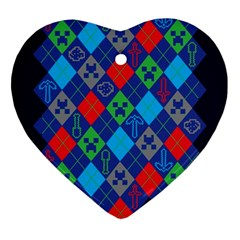 Minecraft Ugly Holiday Christmas Blue Background Heart Ornament (2 Sides) by Onesevenart