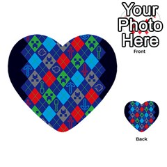 Minecraft Ugly Holiday Christmas Blue Background Multi Purpose Cards (heart)  by Onesevenart