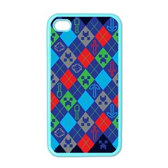 Minecraft Ugly Holiday Christmas Blue Background Apple Iphone 4 Case (color) by Onesevenart