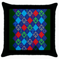 Minecraft Ugly Holiday Christmas Green Background Throw Pillow Case (black) by Onesevenart