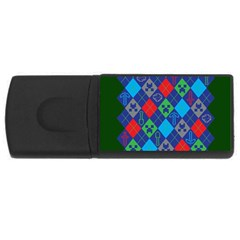 Minecraft Ugly Holiday Christmas Green Background Usb Flash Drive Rectangular (4 Gb)  by Onesevenart