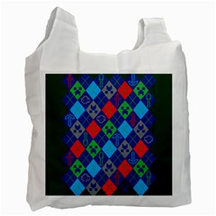 Minecraft Ugly Holiday Christmas Green Background Recycle Bag (two Side)  by Onesevenart