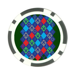 Minecraft Ugly Holiday Christmas Green Background Poker Chip Card Guards (10 Pack)  by Onesevenart