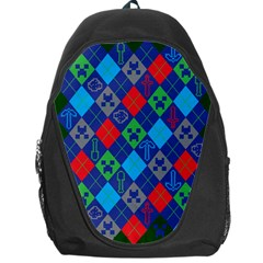 Minecraft Ugly Holiday Christmas Green Background Backpack Bag by Onesevenart