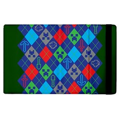 Minecraft Ugly Holiday Christmas Green Background Apple Ipad 3/4 Flip Case by Onesevenart
