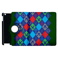 Minecraft Ugly Holiday Christmas Green Background Apple Ipad 3/4 Flip 360 Case by Onesevenart