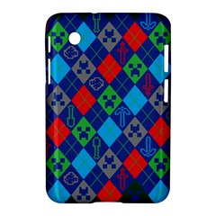 Minecraft Ugly Holiday Christmas Green Background Samsung Galaxy Tab 2 (7 ) P3100 Hardshell Case  by Onesevenart
