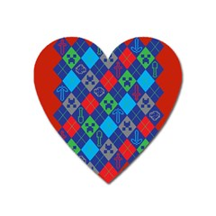 Minecraft Ugly Holiday Christmas Red Background Heart Magnet by Onesevenart