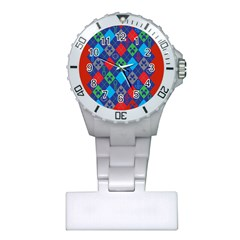 Minecraft Ugly Holiday Christmas Red Background Plastic Nurses Watch by Onesevenart