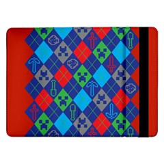 Minecraft Ugly Holiday Christmas Red Background Samsung Galaxy Tab Pro 12 2  Flip Case by Onesevenart