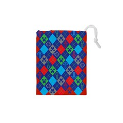 Minecraft Ugly Holiday Christmas Red Background Drawstring Pouches (XS)  by Onesevenart