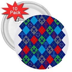Minecraft Ugly Holiday Christmas 3  Buttons (10 Pack)  by Onesevenart