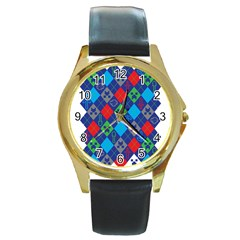 Minecraft Ugly Holiday Christmas Round Gold Metal Watch by Onesevenart