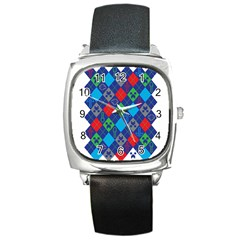 Minecraft Ugly Holiday Christmas Square Metal Watch by Onesevenart