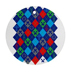 Minecraft Ugly Holiday Christmas Round Ornament (two Sides)  by Onesevenart