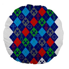 Minecraft Ugly Holiday Christmas Large 18  Premium Round Cushions by Onesevenart