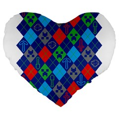Minecraft Ugly Holiday Christmas Large 19  Premium Heart Shape Cushions by Onesevenart