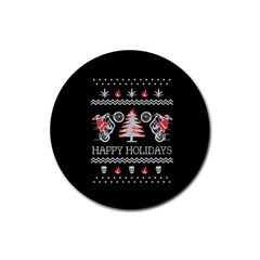 Motorcycle Santa Happy Holidays Ugly Christmas Black Background Rubber Round Coaster (4 Pack)  by Onesevenart