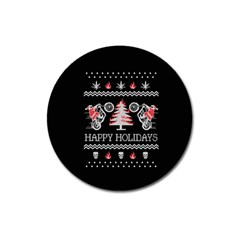 Motorcycle Santa Happy Holidays Ugly Christmas Black Background Magnet 3  (round) by Onesevenart