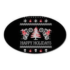 Motorcycle Santa Happy Holidays Ugly Christmas Black Background Oval Magnet by Onesevenart