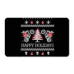 Motorcycle Santa Happy Holidays Ugly Christmas Black Background Magnet (rectangular) by Onesevenart