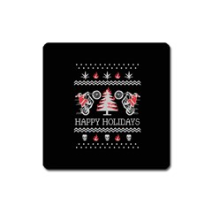 Motorcycle Santa Happy Holidays Ugly Christmas Black Background Square Magnet by Onesevenart