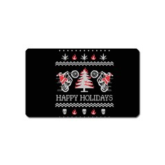 Motorcycle Santa Happy Holidays Ugly Christmas Black Background Magnet (name Card) by Onesevenart