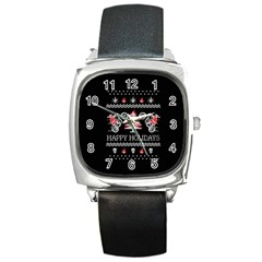 Motorcycle Santa Happy Holidays Ugly Christmas Black Background Square Metal Watch by Onesevenart