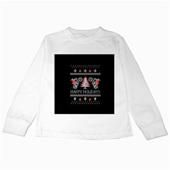 Motorcycle Santa Happy Holidays Ugly Christmas Black Background Kids Long Sleeve T Shirts by Onesevenart
