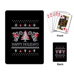 Motorcycle Santa Happy Holidays Ugly Christmas Black Background Playing Card by Onesevenart