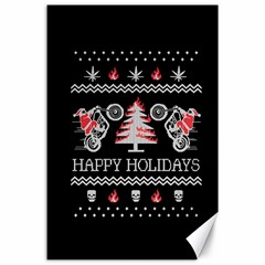 Motorcycle Santa Happy Holidays Ugly Christmas Black Background Canvas 24  X 36  by Onesevenart