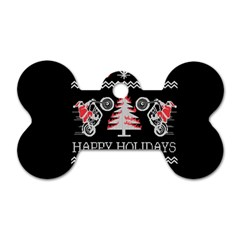 Motorcycle Santa Happy Holidays Ugly Christmas Black Background Dog Tag Bone (two Sides) by Onesevenart
