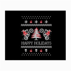 Motorcycle Santa Happy Holidays Ugly Christmas Black Background Small Glasses Cloth (2 Side) by Onesevenart