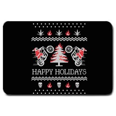 Motorcycle Santa Happy Holidays Ugly Christmas Black Background Large Doormat  by Onesevenart