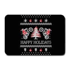Motorcycle Santa Happy Holidays Ugly Christmas Black Background Plate Mats by Onesevenart