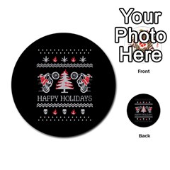 Motorcycle Santa Happy Holidays Ugly Christmas Black Background Multi Purpose Cards (round)  by Onesevenart