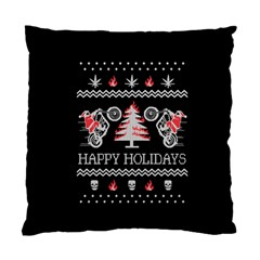 Motorcycle Santa Happy Holidays Ugly Christmas Black Background Standard Cushion Case (two Sides) by Onesevenart