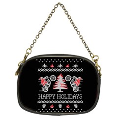 Motorcycle Santa Happy Holidays Ugly Christmas Black Background Chain Purses (two Sides)  by Onesevenart