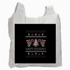 Motorcycle Santa Happy Holidays Ugly Christmas Black Background Recycle Bag (two Side)  by Onesevenart