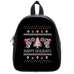 Motorcycle Santa Happy Holidays Ugly Christmas Black Background School Bags (small)  by Onesevenart