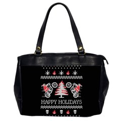 Motorcycle Santa Happy Holidays Ugly Christmas Black Background Office Handbags (2 Sides)  by Onesevenart